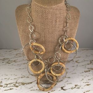 Jewelry - Wooden + Silver Statement Necklace